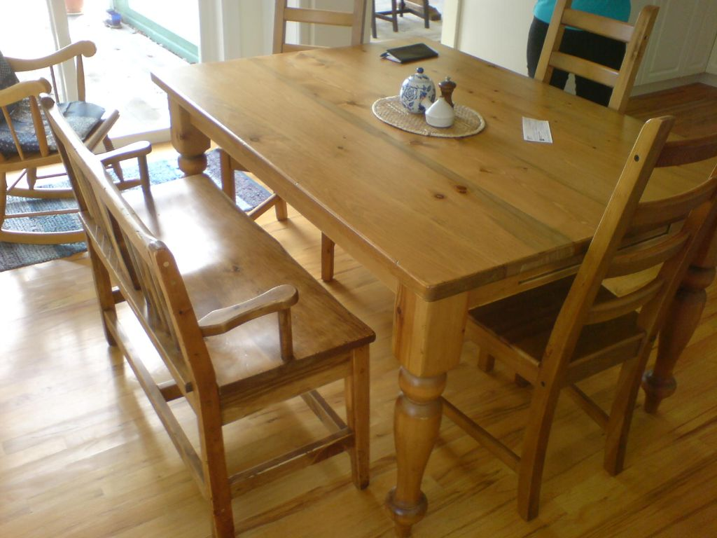 10. Table and 3 chairs and Bench